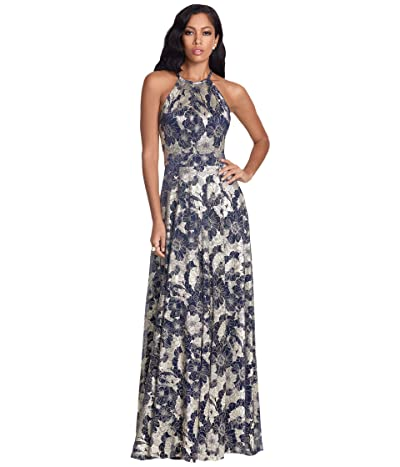 Betsy & Adam Long Foil Print Halter Gown with Wrap Skirt