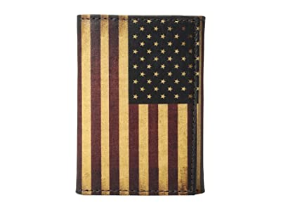 M&F Western Vintage USA Flag Trifold Wallet (Multi) Wallet Handbags