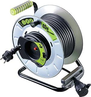Masterplug Pro XT Metall Reverse Kabeltrommel mit einer wetterfesten Schukoverlängerung, 40 + 3 Meter Gummikabel