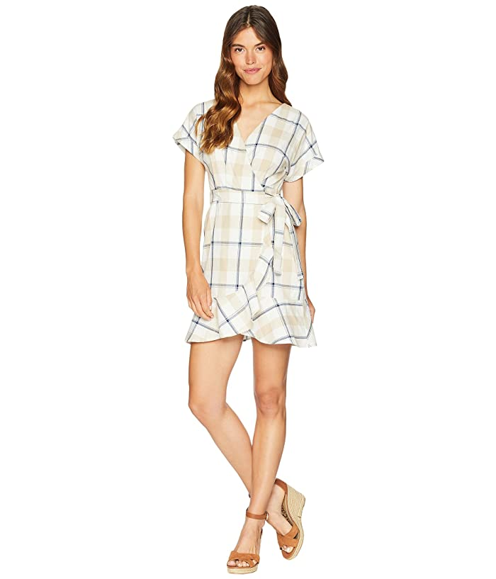 J.O.A. Short Sleeve Wrap Dress with Ruffle (Plaid) Women