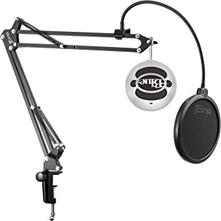 Blue Microphones Snowball USB Condenser Microphone (Brushed Aluminum) Bundle with Metal Mic Stand, USB Cable, and Blucoil Boom Arm Plus Pop Filter