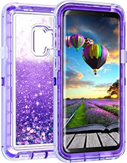 Coolden Case for Galaxy S9 Case Protective Glitter Case for Women Girls Cute Bling Sparkle 3D Quicksand Heavy Duty Hard Shell Shockproof TPU Case for Samsung Galaxy S9, Purple