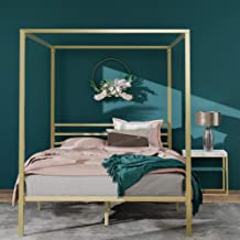 Zinus Patricia Metal Canopy Four Poster Bed Frame - Gold - Queen Size