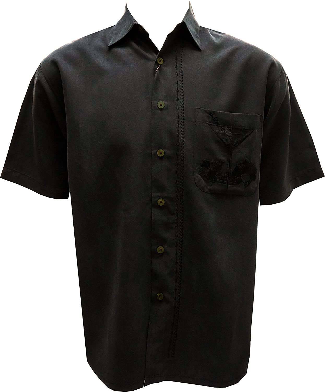 Bamboo Cay Mens Short Sleeve Martini Olivas Casual Embroidered Woven Shirt
