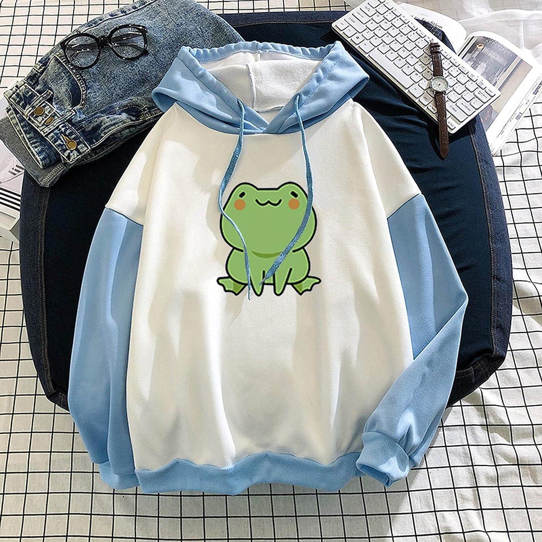Hoodie for Women Teen Girls Harajuku Drwastring Kawaii Frog Printing Blouse Top Graphic Shirts Daily Comfy Streetwear