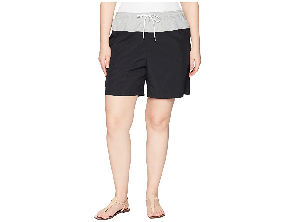 Columbia Plus Size Sandy Rivertm Color Blocked Shorts (Black/Columbia Grey/White) Women
