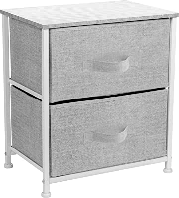 Sorbus Nightstand with 2 Drawers - Bedside Furniture & Night Stand End Table Dresser for Home, Bedroom Accessories, Office, College Dorm, Steel Frame, Wood Top, Easy Pull Fabric Bins (White/Gray)