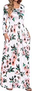 فستان طويل فضفاض بأكمام قصيرة للنساء من HOOYON فساتين طويلة غير رسمية بجيوب