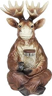 Exhart Solar Moose Garden Statue with LED Firefly Lights Glass Jar – Moose Figurine Holding a Mason Jar w/Firefly String Lights – Moose Decor for Garden, Yard, Patio, 8