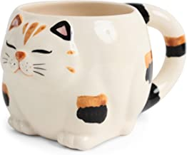 Seto ware Japanese Pottery Mug Cup Chubby Cat Shape Calico made in Japan (Japan Import) NAM002