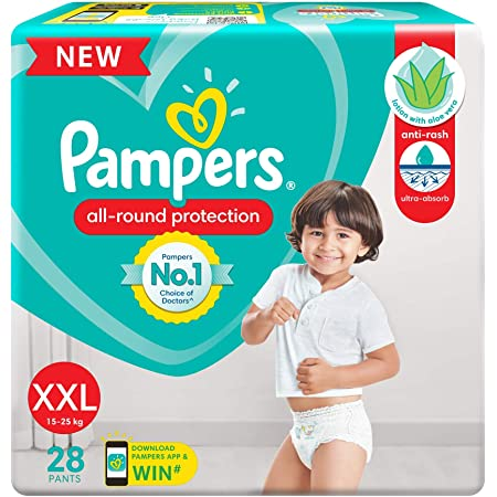 Pampers All round Protection Pants, Double Extra Large size baby diapers (XXL), 28 Count, Anti Rash diapers, Lotion with Aloe Vera