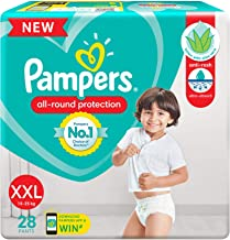 Pampers All round Protection Pants, Double Extra Large size baby diapers (XXL), 28 Count, Anti Rash diapers, Lotion with A...