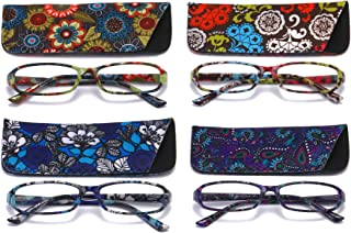 SOOLALA 4-Pair Fashionable Spring Hinge Rectangular Reading Glasses w/Matching Pouch