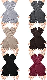 Unisex Half Finger Gloves Winter Stretchy Knit Fingerless Typing Gloves