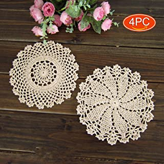 Elesa Miracle 7 Inch 4pc Handmade Round Crochet Cotton Lace Table Placemats Doilies Value Pack, Mix, Beige (4pc-7 Inch Beige)