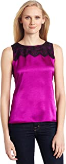 Anne Klein Women's Petite Size Sleeveless Blouse with Lace Detail