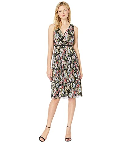 Adrianna Papell Printed Floral Garden Printed Tiered Dress (Black Multi) Women