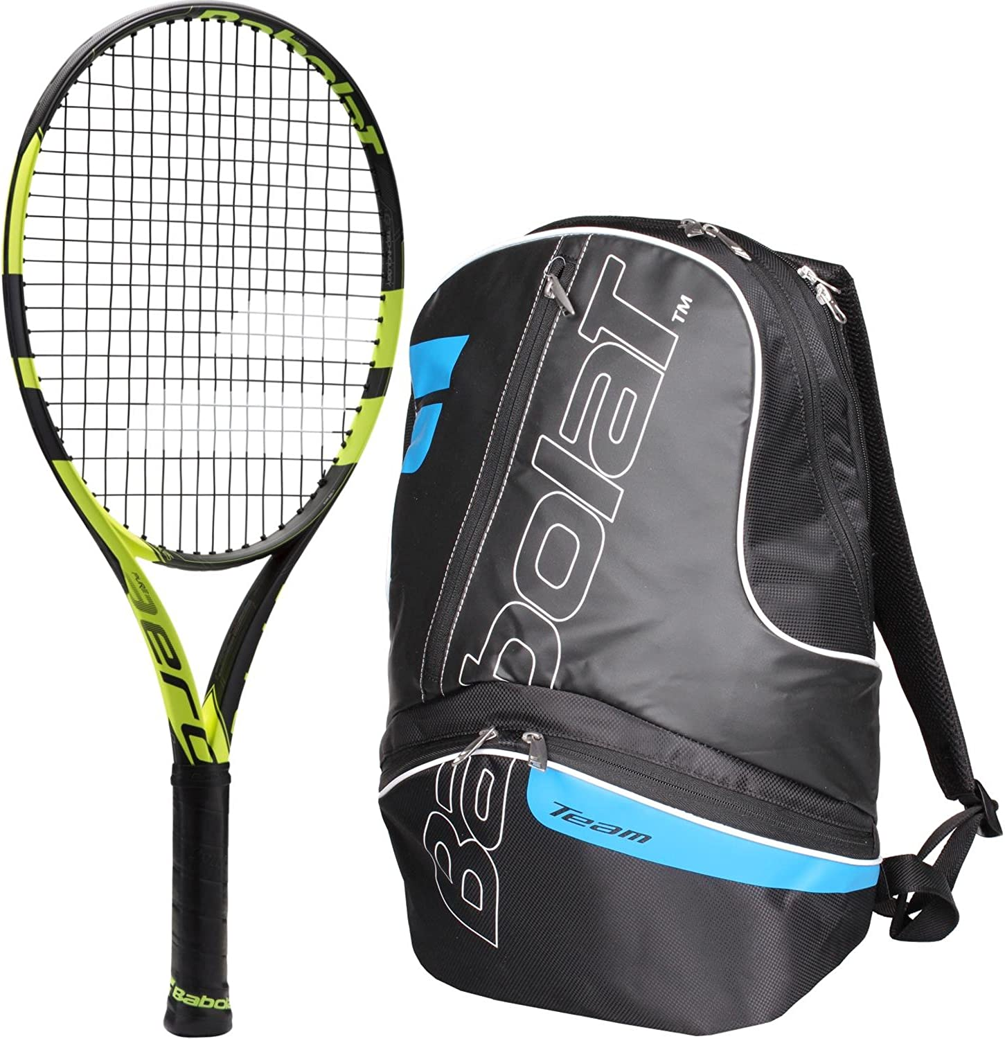 Babolat Pure Aero 25 Inch Junior Tennis Racquet (Black Yellow) bundled with a blueee Black Team Tennis Backpack