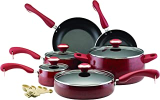 Paula Deen 12512 Signature Nonstick Cookware Pots and Pans Set, 15 Piece, Silver