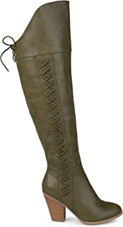 Brinley Co. Womens Siro Distressed Regular and Wide Calf Faux Leather Faux Lace-up Over-The-Knee Boots