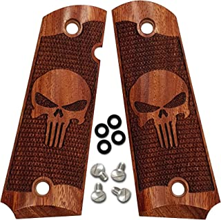 1911 Grips by Dan Eagle Fits Full Size, Gov't, Commander Exotic Solid Rosewood Punisher Design