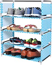 WowObjects 4 Layers Portable Multi-Purpose Foldable Storage Shoe Rack for Home (Turquoise Dot)