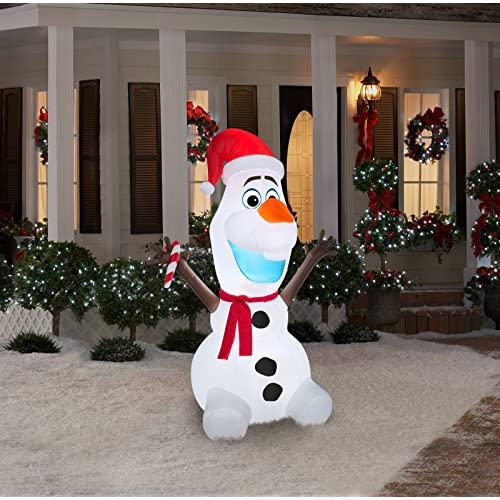 Gemmy Airblown Inflatable Olaf Wearing Santa Hat and Holding Candy Cane, Christmas  Yard Decoration Props - Disney Inflatables Christmas: Amazon.com