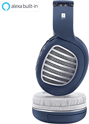 9a176b71c9a iBall Decibel BT01 Smart Headphone with Alexa Enabled Blue, White and Silver