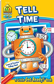 School Zone - Tell Time Workbook - Ages 6 to 8, 1st Grade, 2nd Grade, Telling Time, Digital, Analog, Clock, and More (Scho...