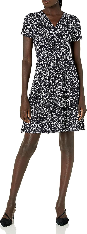 Lark & Ro Women's Short Sleeve Fixed Wrap Waistband Dress