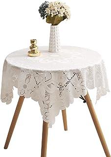 پارچه میز کوچک HOMECOOL Square - رومیزی قلاب بافی عاجی برای میز کناری یا تخت خواب ... (35 X 35 اینچ)