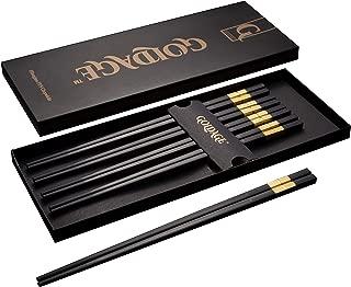 Goldage Fiberglass Dishwasher-safe Chopsticks - Hourglass (5-Pairs-Gold)