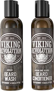 Viking Revolution Beard Wash & Beard Conditioner Set w/Argan & Jojoba Oils – Softens, Smooths & Strengthens Beard Growth - Natural Peppermint and Eucalyptus Scent - Beard Shampoo w/Beard Oil (5 oz)