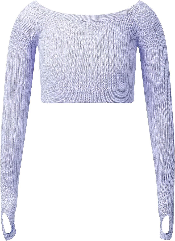 Jowowha Big Girls Crew Neck Long Sleeve Pullover Knitted Jumper Crop Sweater Ballet Dance Clothing Crochet Tops