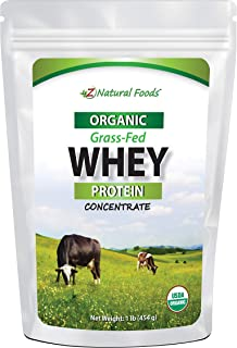 Organic Grass Fed Whey Protein Powder - 1 lb - Unflavored, Hormone Free, Non GMO, Gluten Free, Kosher - All Natural Whey Concentrate - Try In Keto or Paleo Drinks, Shakes, Smoothies, & Recipes
