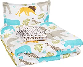AmazonBasics Easy Care Super Soft Microfiber Kid's Bed-in-a-Bag Bedding Set - Twin, Multi-Color Zoo Animals