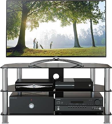 1home Soporte Vidrio Templado Negro de TV para 32-60pulgadas 100 cm de Ancho de plasma/LCD/LED/3D