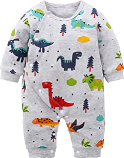 Baby Boys and Girls Cartoon Dinosaurs 100% Cotton Baby Clothes Romper Bodysuit