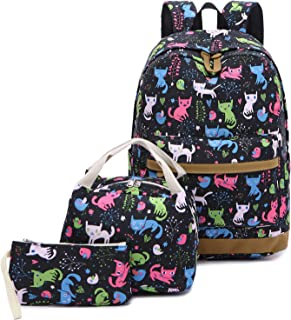 Kids Backpack for School Girls Teens Bookbag Set School Bag with Insulated Lunch Bag (Cat Blue-0021)