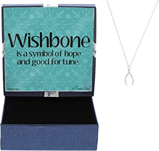 Wishbone Necklace Good Luck Charm Hope Silver-Tone Pendant Necklace Jewelry Box Keepsake