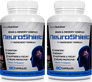 Brain & Memory Supplement, Multi-Ingredient Formula, Two 90 Count Bottles, 180 Day Capsules