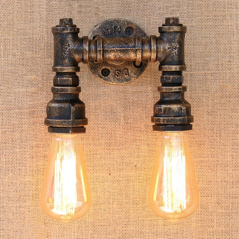 Meiya lamp Kreative Wandleuchte, Indoor Eisenrohr Wandleuchte Schlafzimmer Korridor Bar Restaurant LOFT Dekorative Wandleuchte Engineering Wandleuchte Einzel-   Doppelkopf (Farbe   B)