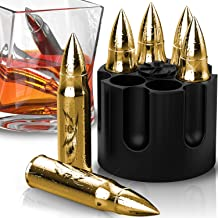 Metal Whiskey Stones - 6-Pack Steel Whiskey Rocks | Metal Ice Cubes to Chill Bourbon, Scotch in Your Whisky Glass - Cool Gifts for Men, Father's Day, Christmas Stocking Stuffer, Man Cave Accessories