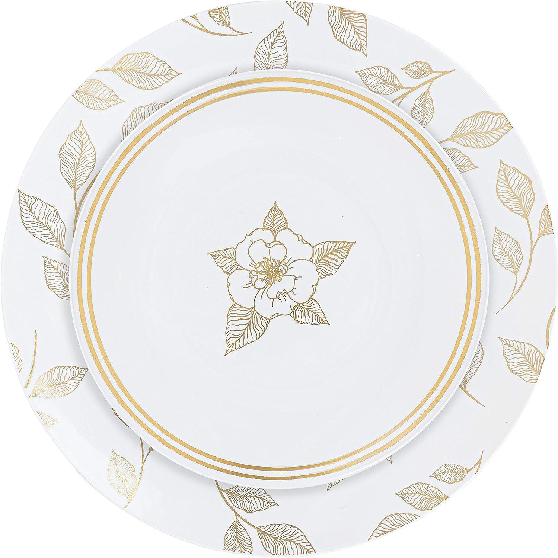 Plasticpro White Plastic Design Plates Excellence heavyweight Party NEW Premium