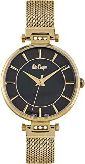 Lee Cooper Women's Analog Gold Case Gold Super Metal Strap Black Dial -LC06507.150