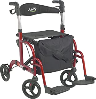 Juvo Convertible Rollator-Transport Chair, 250-Pound Capacity, Cherry Red(TCH101), 1 Count