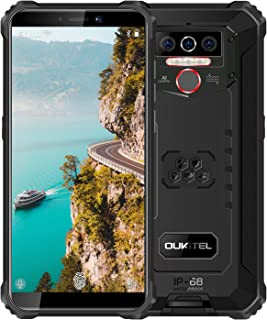 Rugged Phone Unlocked OUKITEL(2020) Android 10 Cell Phones 8000mAh Battery Triple Camera 4 LED Flashlights 4GB+32GB IP68 Waterproof Shockproof 5.5 Inch HD+ Global 4G Dual SIM Face ID Fingerprint