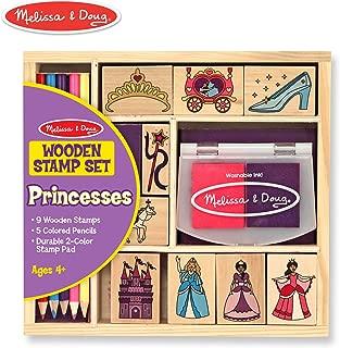 Melissa & Doug Wooden Stamp Set, Princesses (Arts & Crafts, Sturdy Wooden Storage Box, Washable Ink, 15 Pieces)