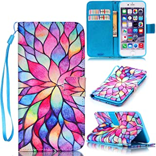 iPhone 6S Case,iPhone 6 Case,JanCalm [Wrist Strap Design][Kickstand] Pattern Premium PU Leather Wallet Cell Phone Case [Card/Cash Slots] Flip Cover for iPhone 6S / iPhone 6 + Crystal Pen (Water Lily)