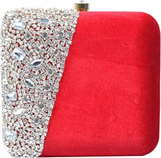 Tooba Women's Crystal Square Box Clutch (Red, RED CRYSTAL 6X6)